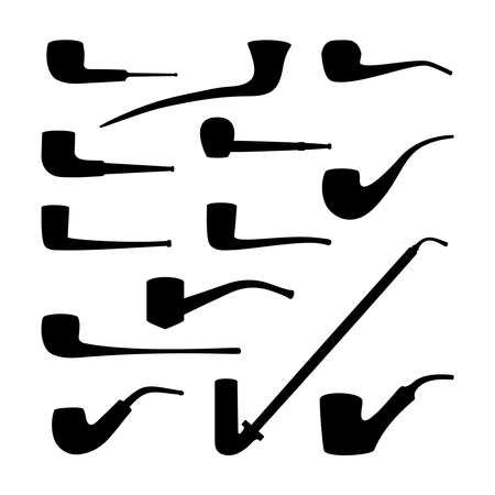 pipes: Set of tobacco pipes collection.  Illustration