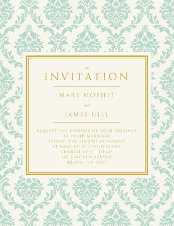 filigree border: Invitation to the wedding or announcements. Ornate damask background