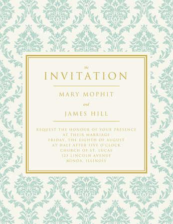 Uitnodiging voor de bruiloft of aankondigingen. Overladen damastachtergrond Stock Illustratie