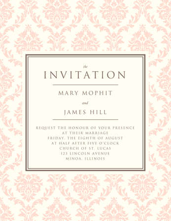 ornate background: Invitation to the wedding or announcements. Ornate damask background