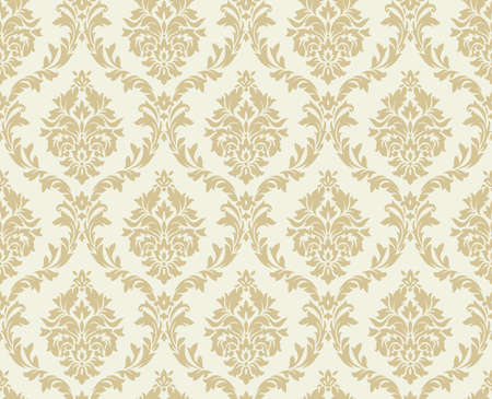 Vector seamless damask pattern. Ornate vintage background Çizim