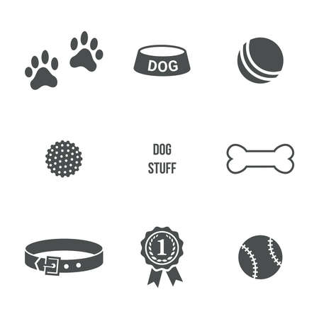 dog kennel: Dog stuff set. Vector icons
