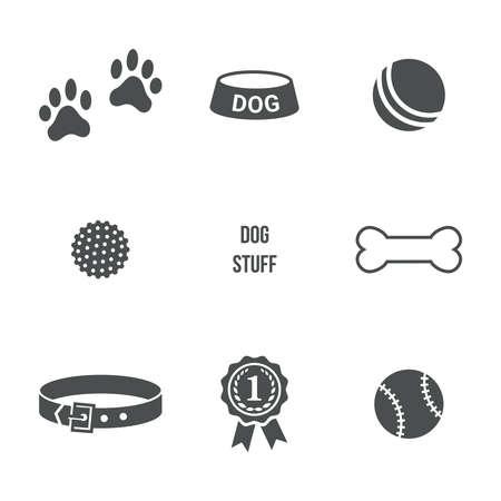 huellas de perro: Materia del perro ajustado. Iconos del vector Vectores