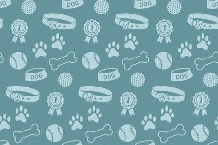 Seamless pattern with dog's stuff. Collar, bowl, balls, bones, paw prints and the reward