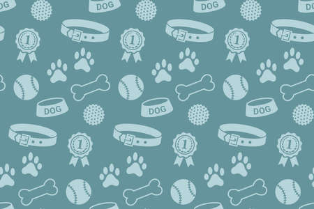 stuff: Seamless pattern with dogs stuff. Collar, bowl, balls, bones, paw prints and the reward