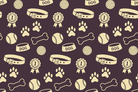 stuff toys: Seamless pattern with dogs stuff. Collar, bowl, balls, bones, paw prints and the reward