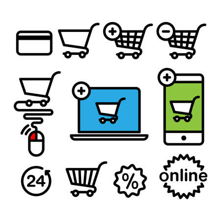 credit card icon: Online shopping icons. Set pictogram supermarket services