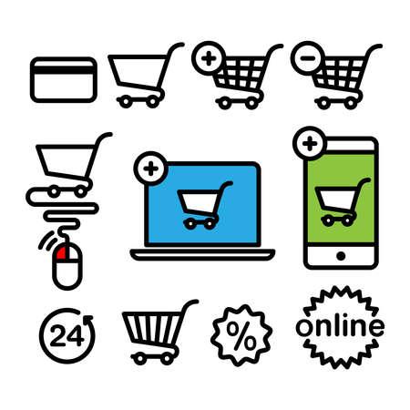 supermarket services: Online shopping icons. Set pictogram supermarket services