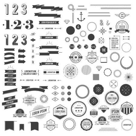 sello: Hipster elementos infogr�ficos estilo creado para el dise�o retro. Con cintas, etiquetas, rayas, n�meros, flechas, las fronteras y el diamante. Ilustraci�n vectorial