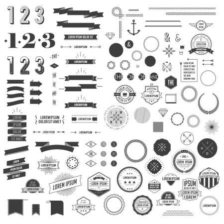stamp collection: Hipster style infographics elements set for retro design. With ribbons, labels, rays, numbers, arrows, borders and diamond. Vector illustration
