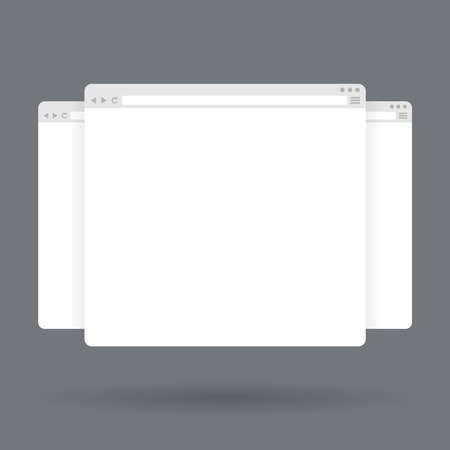 Flat blank browser windows. Vector Template for your content Çizim