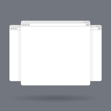 finestra: Piatte finestre del browser vuote. Modello di vettore per il contenuto