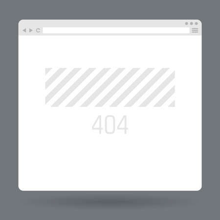 Flat browser window with page 404. Vector illustration