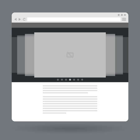 slideshow: Flat browser window with photo slideshow. Vector illustration