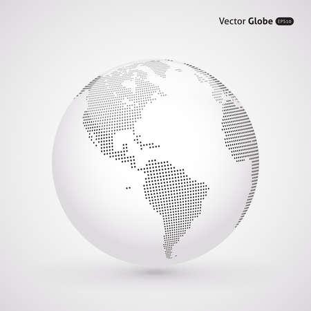 america del sur: Vector de puntos de globo de luz, puntos de vista centrales de calefacción más de Norte y Sur América Vectores