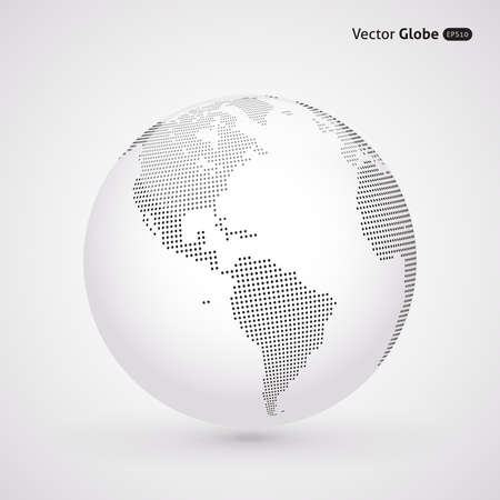 Vector dotted light globe, Central heating views over North and South America Stock Illustratie