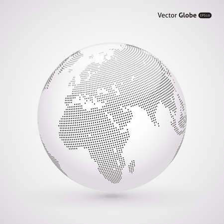 earth globe: Vector dotted light globe, Central heating view on Europe and Africa