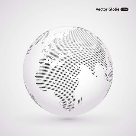 zeměkoule: Vector tečkovaný světlo zeměkouli, Ústřední topení pohled na Evropu a Afriku