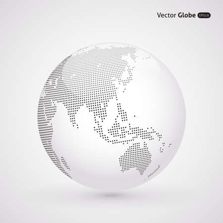 Vector dotted light globe, Central heating views over East Asia Çizim