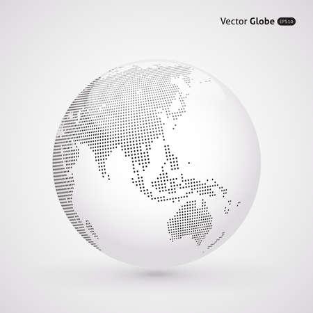 wereldbol: Vector gestippelde licht globe, Centrale verwarming uitzicht over Oost-Azië