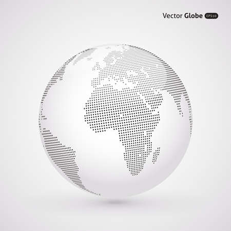 globe abstract: Vector dotted light globe, Central views of Africa