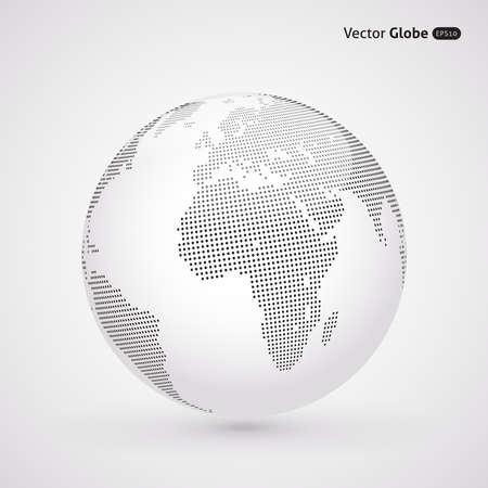 globe: Vector gestippelde licht globe, Centraal uitzicht op Afrika