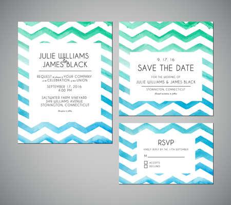 벡터 수채화 배경으로 결혼식 초대 카드를 설정합니다. 템플릿 결혼식 초대장 또는 공지 일러스트