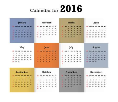 Calendar for 2016. Vector EPS10