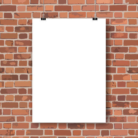 red brick wall: Blank paper poster on red brick wall. Vector illustration