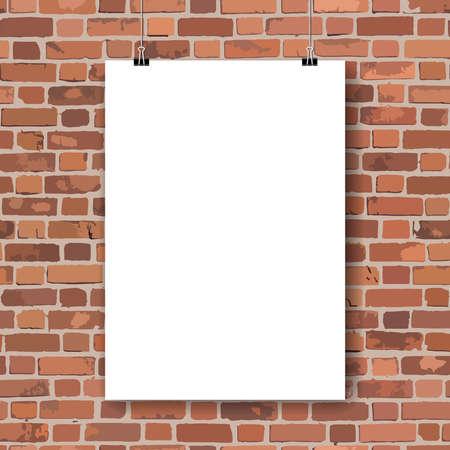 brickwall: Cartel de papel blanco en la pared de ladrillo rojo. Ilustraci�n vectorial