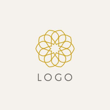 Hipster template logo. Modern lineart logo design elements