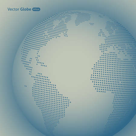 atlantic ocean: abstract dotted globe, Central heating view on Atlantic ocean region