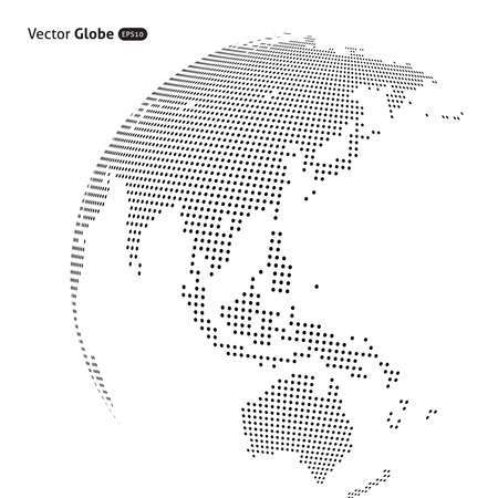 central heating: abstract dotted globe, Central heating view on Australia and New Zealand