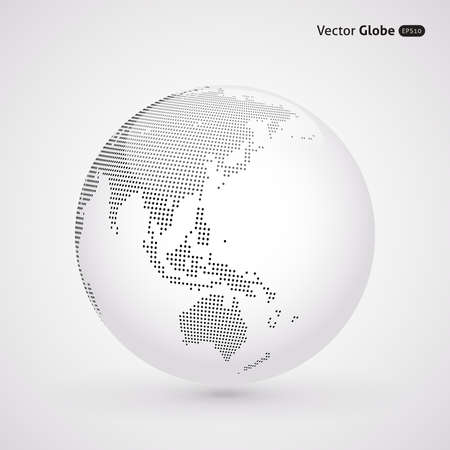 new zealand: abstract dotted globe, Central heating view on Australia and New Zealand