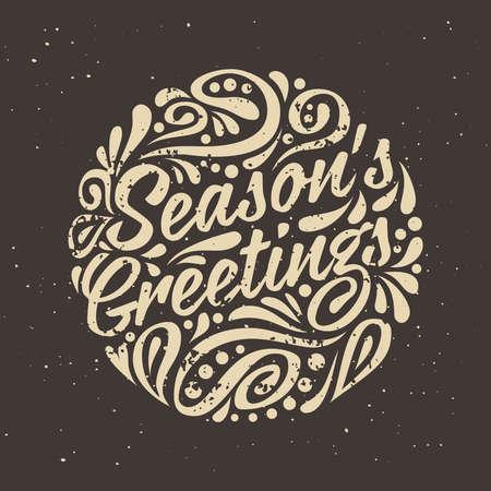 greeting season: Grange Holidays greeting card with abstract doodle Christmas ball. Season greeting Illustration