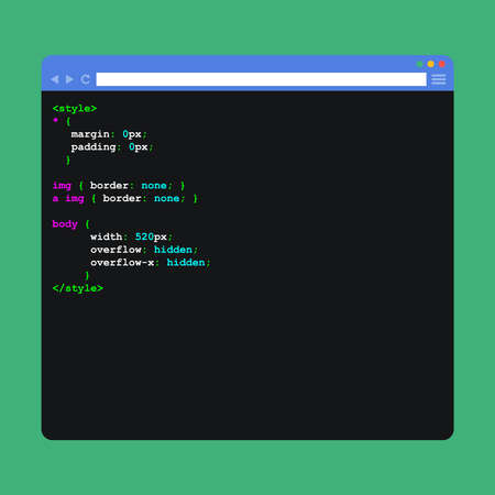 html: Flat browser window with code.