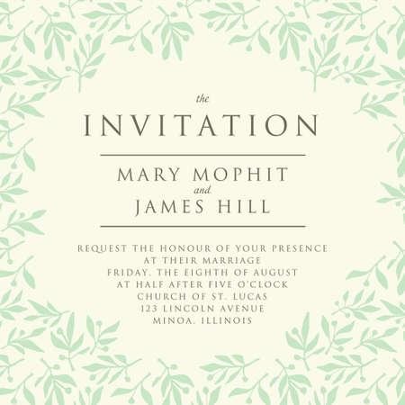 rama de olivo: Invitaci�n con la rama de patr�n de oliva. Invitaci�n de la boda plantilla o anuncios Vectores