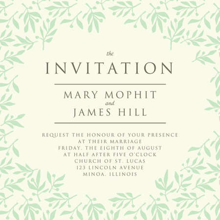 foglie ulivo: Invito con pattern succursale di oliva. Invito a nozze template o annunci Vettoriali