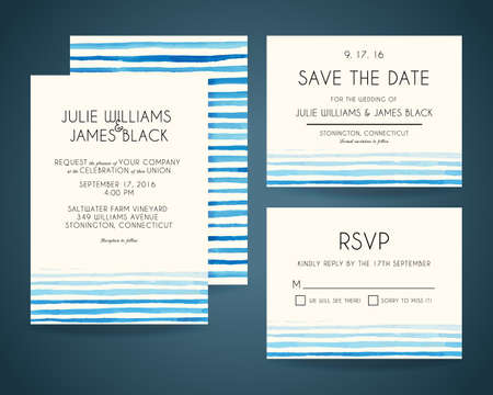 invitation background: set Wedding invitation cards with watercolor background. Template Wedding invitations or announcements
