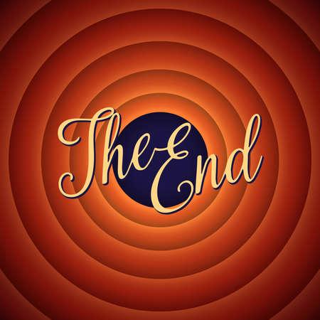 映画の最後の画面。最後です。レトロな背景