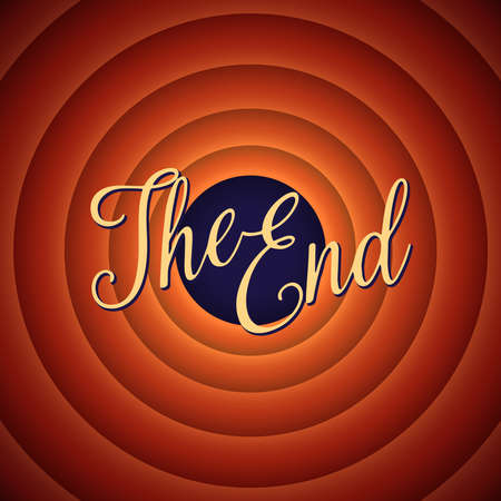 The final screen of the movie. The end. Retro background Çizim