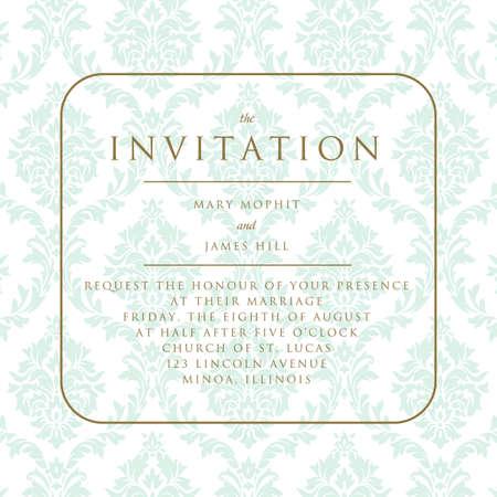 announcements: Wedding invitation on damask background. Template framework Wedding invitations or announcements with vintage background artwork