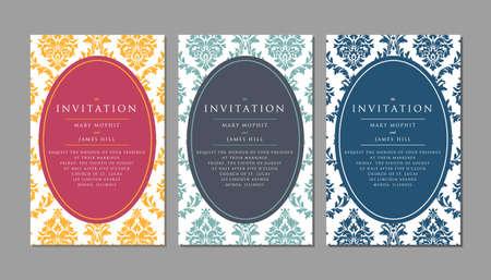 framework: Wedding invitation on damask background. Template framework Wedding invitations or announcements with vintage background artwork
