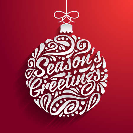 season's greeting: Holidays greeting card with abstract doodle Christmas ball. Vector  illustration. Seasons greeting Illustration