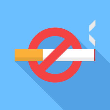prohibido fumar: No aparece el icono de fumar. Diseño plano del icono del vector