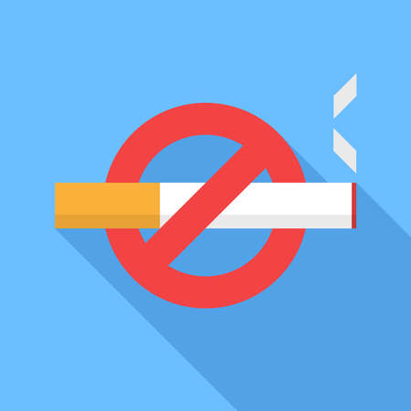 smoke: No smoking icon. Flat Design vector icon