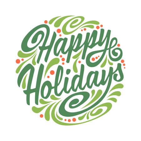 estaciones del a�o: Vacaciones tarjeta de felicitaci�n con garabato abstracto bola de Navidad. Ilustraci�n vectorial Colorfull. Felices vacaciones Vectores