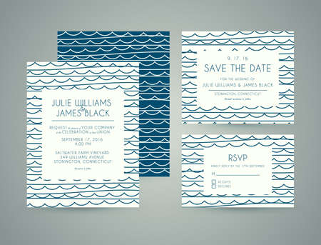 hand set: Vector set Wedding invitation cards with abstract water background. Template Wedding invitations or announcements