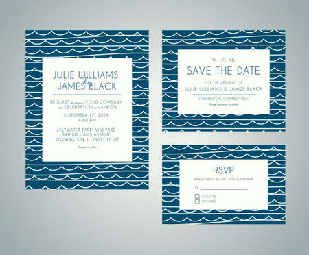 invitation cards: Vector set Wedding invitation cards with abstract water background. Template Wedding invitations or announcements