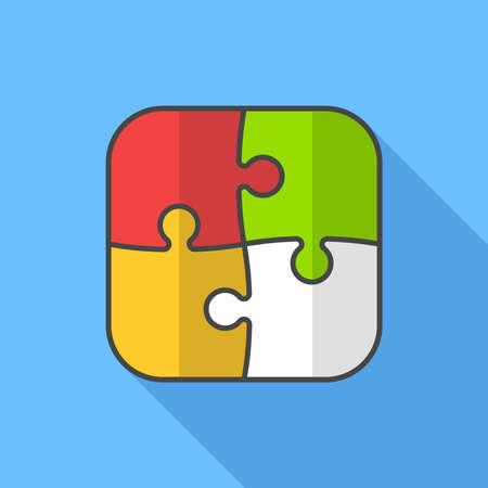 puzzle icon: Puzzle icon. Flat Design vector icon Illustration